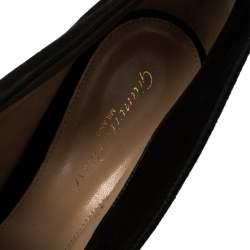 Gianvito Rossi Black Suede Vamp Peep Toe Booties Size 41.5
