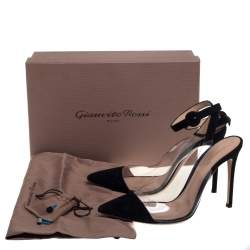 Gianvito Rossi Black Suede And PVC Anise  Cap-Toe Pumps Size 39