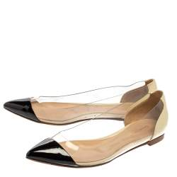 Gianvito Rossi Black/Off White Leather And PVC Plexi Pointed Toe Flats Size 35