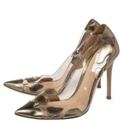 Gianvito Rossi Metallic Bronze Leather And PVC Pointed Toe Pumps Size 37.5