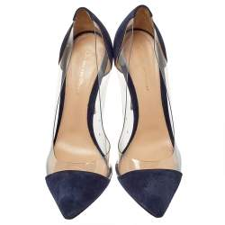 Gianvito Rossi Blue Suede and PVC Plexi Pointed Toe Pumps Size 40