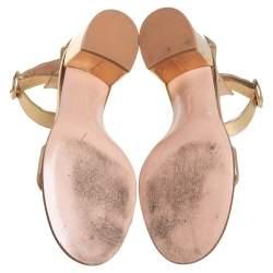 Gianvito Rossi Metallic Gold Leather Portofino Block Heel Sandals Size 39.5