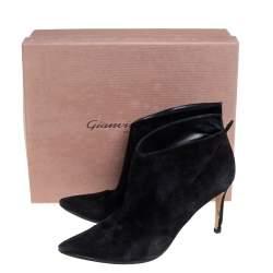 Gianvito Rossi Black Suede Kat Mid Booties Size 40.5