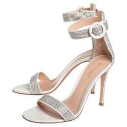 Gianvito Rossi Off White Suede  Embellished Portofino Sandals Size 36