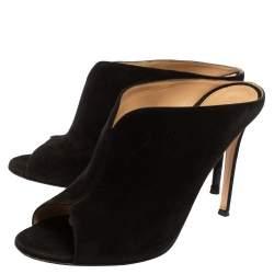 Gianvito Rossi Black Suede Cobalt Peep-Toe Mules Size 39.5