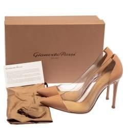 Gianvito Rossi Beige Patent Leather And  PVC Plexi Pumps Size 38.5