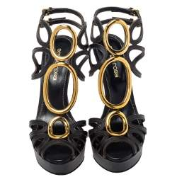 Sergio Rossi Black Leather Cut Out Detail Farrah Open Toe Sandals Size 35