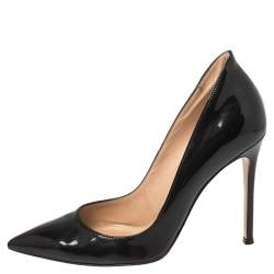 Gianvito Rossi Black Patent Leather Pointed Toe Pumps Size 38