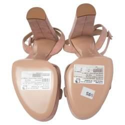 Gianvito Rossi Blush Pink Suede Platform Ankle Strap Sandals Size 41