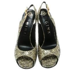 Gina Metallic Gold Glitter Peep Toe Platform Slingback Sandals Size 39.5