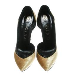 Gina Gold Paisley Print Velvet Crystal Studded D'orsay Pointed Toe Pumps Size 39
