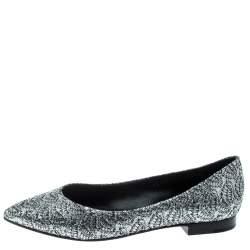 Gina Metallic Silver Glitter Pointed Toe Flats Size 38