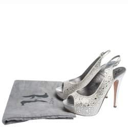 Gina Grey Satin Crystal Embellished Platform Open Toe Slingback Sandals Size 39