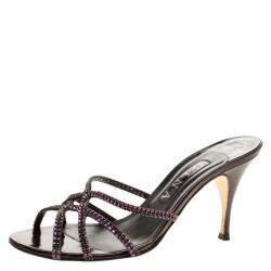 Gina Purple Crystal Embellished Slides Size 38.5