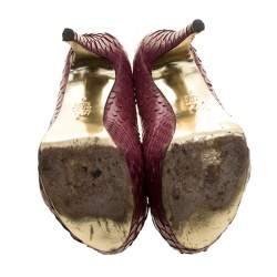 Gina Bordeaux Python Leather Elle Platform Pumps Size 38