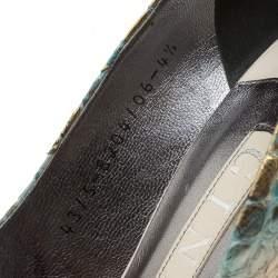 Gina Multicolor Metallic Python Leather Platform Pumps Size 37.5