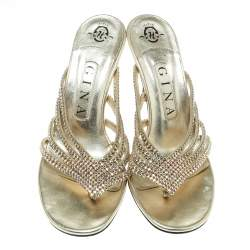 Gina Gold Crystal Embellished Leather Sandals Size 37
