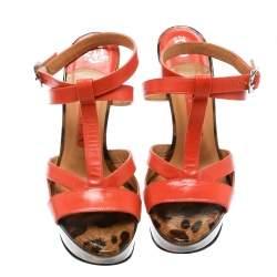 Gina Orange Leather Ankle Strap Platform Sandals Size 37.5