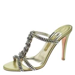Gina Two Tone Crystal Embellished Leather Sandals Size 39