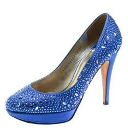 Gina Blue Crystal Embellished Satin Pumps Size 38.5
