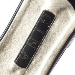 Gina Metallic Pink Crystal Embellished Leather Thong Sandals Size 41