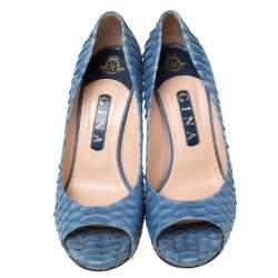 Gina Blue Python Leather Peep Toe Platform Pumps Size 37