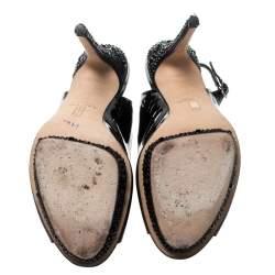 Gina Black Patent Leather Crystal Embellished Platform Peep Toe Slingback Sandals Size 40