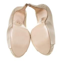 Gina Beige Satin Jenna Crystal Embellished Heel Peep Toe Platform Pumps Size 39.5