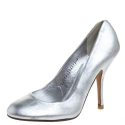 Gina Metallic Silver Leather Round Toe Pumps 37