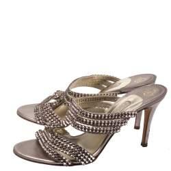 Gina Metallic Lilac Crystal Embellished Slides Size 39