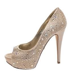Gina Beige Satin Swarovski Crystal Embellished Peep Toe Platform Pumps Size 38.5