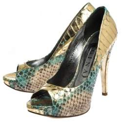 Gina Multicolor Python Leather Peep Toe Platform Pumps Size 38