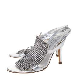 Gina Silver Crystal Embellished Leather Open Toe Sandals Size 38