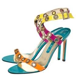 Gina Multicolor Leather Crystal Embellished Ankle Strap Sandals Size 40
