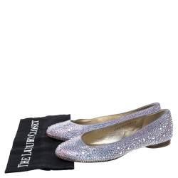 Gina Lilac Crystal Embellished Satin Ballet Flats Size 39