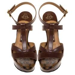Gina Brown Leather And Leopard Print Patent Platform Ankle Strap Sandals Size 36