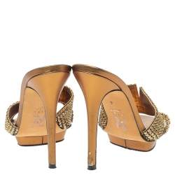 Gina Bronze Leather Crystal Embellished Platform Sandals Size 39