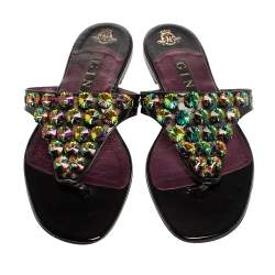 Gina Black Patent Leather Crystal Embellished Thong Flats Size 41