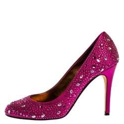 Gina Purple Crystal Embellished Satin Round Toe Pumps Size 39.5