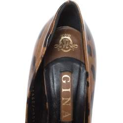 Gina Brown Leopard Print Patent Leather Round Toe Pumps Size 39.5