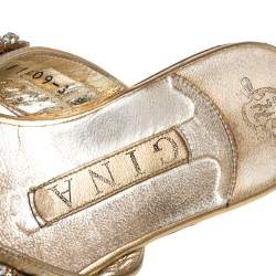 Gina Gold Crystal Drop Embellished Leather Thong Flats Size 36