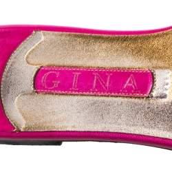 Gina Magenta Leather Athena Crystal Embellished Slide Flats Size 38