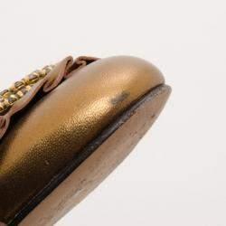 Gina Bronze Metallic Embellished Ballerina Flats Size 39.5