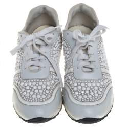 Gina White Satin And Leather Crystal Embellished Lace Up Sneakers Size 40