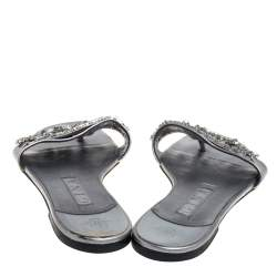 Gina Grey Leather Crystal Embellished Thong Flat Slides Size 38.5