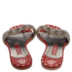 Gina Red Crystal Embellished Flats Sandals Size 38.5