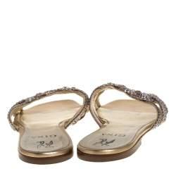 Gina Gold Crystal Embellished Leather Flat Slides Size 40