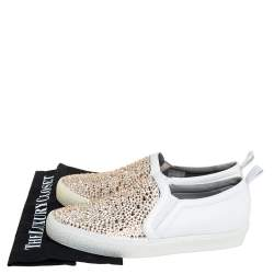 Gina White Leather And Crystal Embellished Satin Gioia Slip On Skate Sneakers Size 39