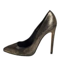 حذاء كعب عالي جينا نوبوك جلد برونزي ميتاليك مقاس 39