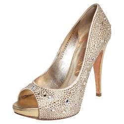 Gina Gold Satin Peep toe Pumps Size 38.5